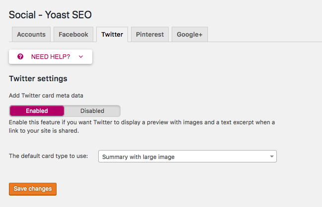 Twitter configuration in Yoast SEO plugin.