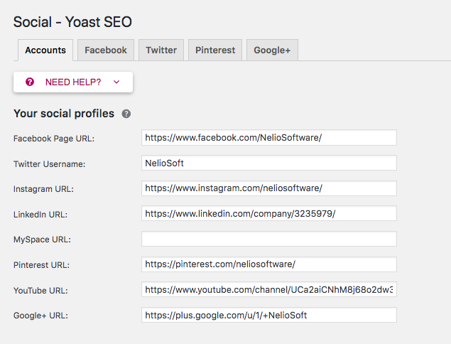 Add the URLs of your social profiles to the Yoast SEO plugin.