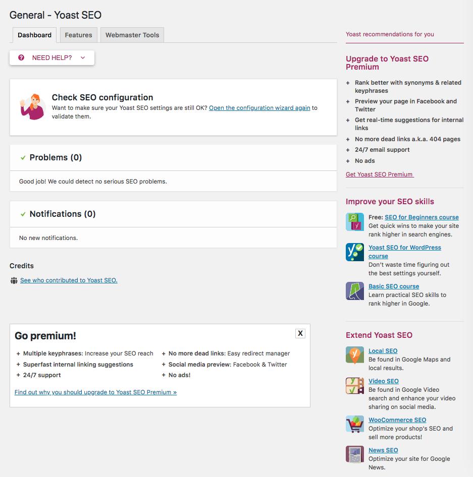 General menu option screen of Yoast plugin.