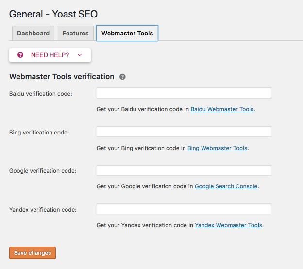 Webmaster tools tab of Yoast SEO plugin.