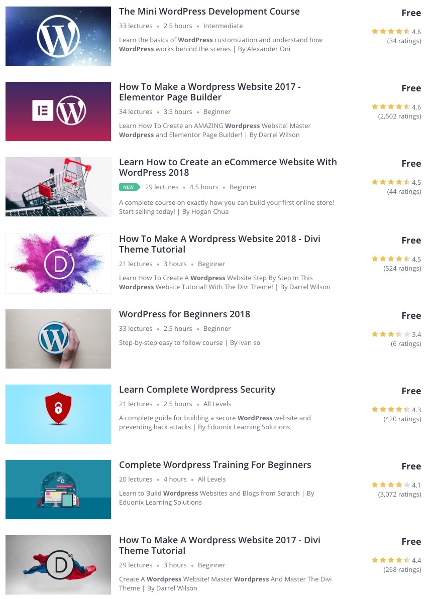 WordPress free courses at Udemy