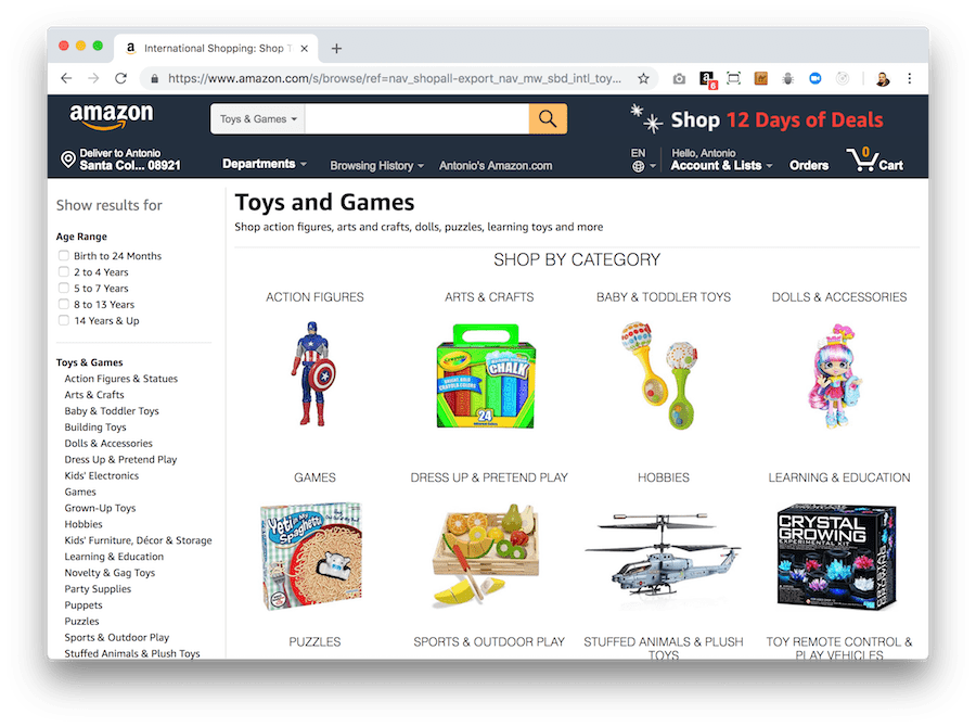 If you have an online store, make sure that searching for products in it is intuitive for the visitor. This will make it easier for you to become a customer. A good example of this is the Amazon store.