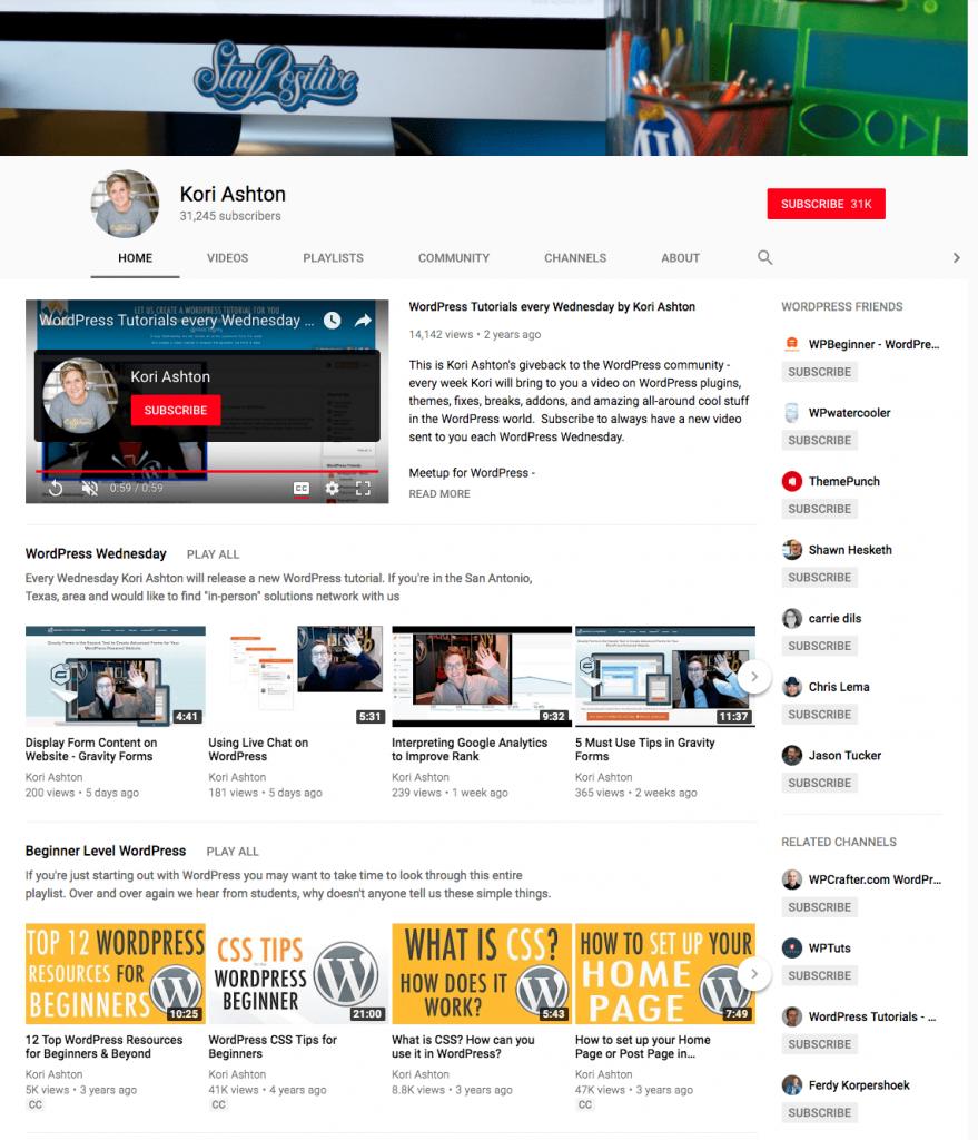 Kori Ashton YouTube channel.