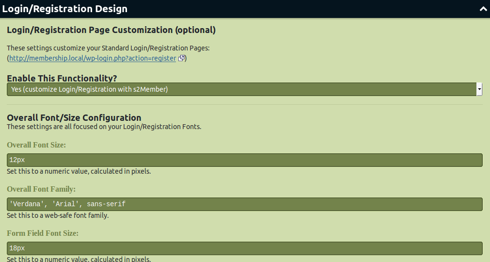 Login registration design setup in s2Member