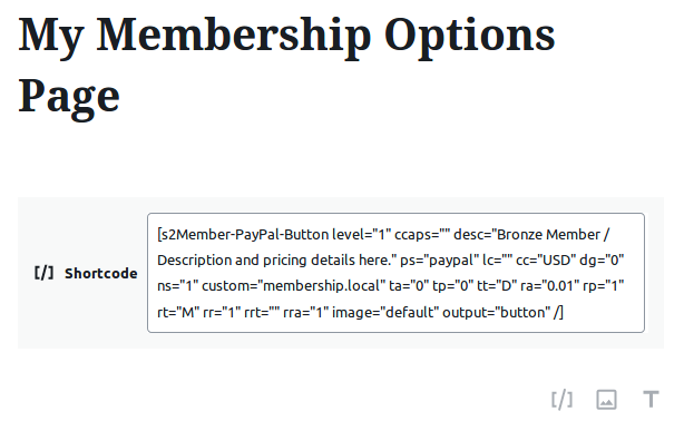 Subscription page in your Membership site with a PayPal button