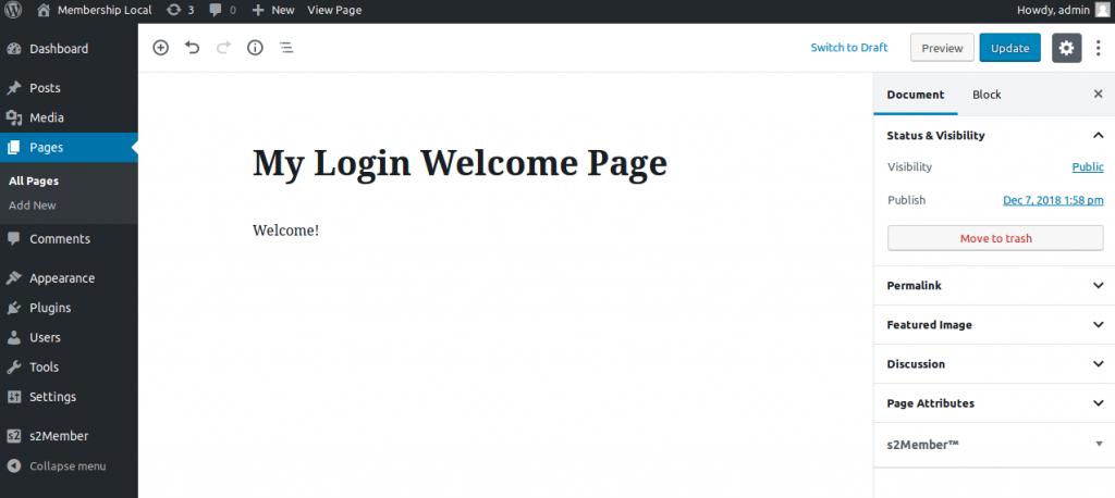 Welcome Page in the s2Member Plugin