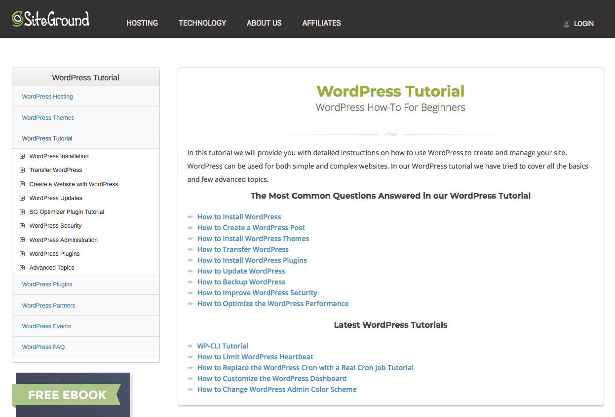 SiteGround WordPress tutorial.