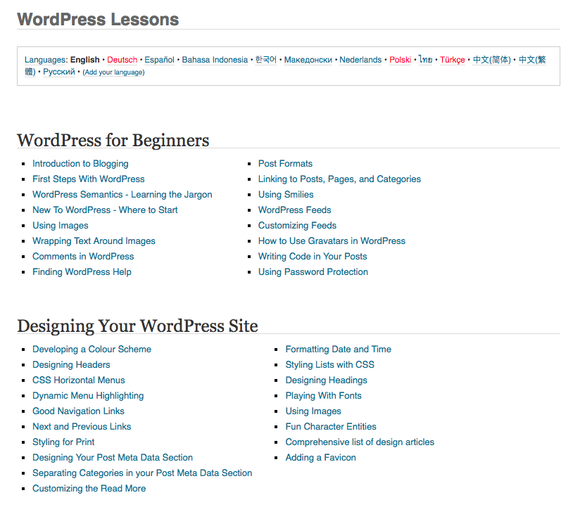 WordPress Lessons of the codex.