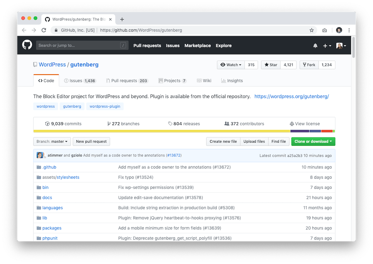 GitHub repository of Gutenberg for WordPress.