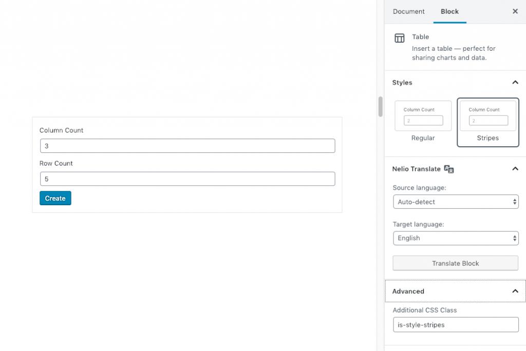 Creating a Table block with the WordPress block editor.