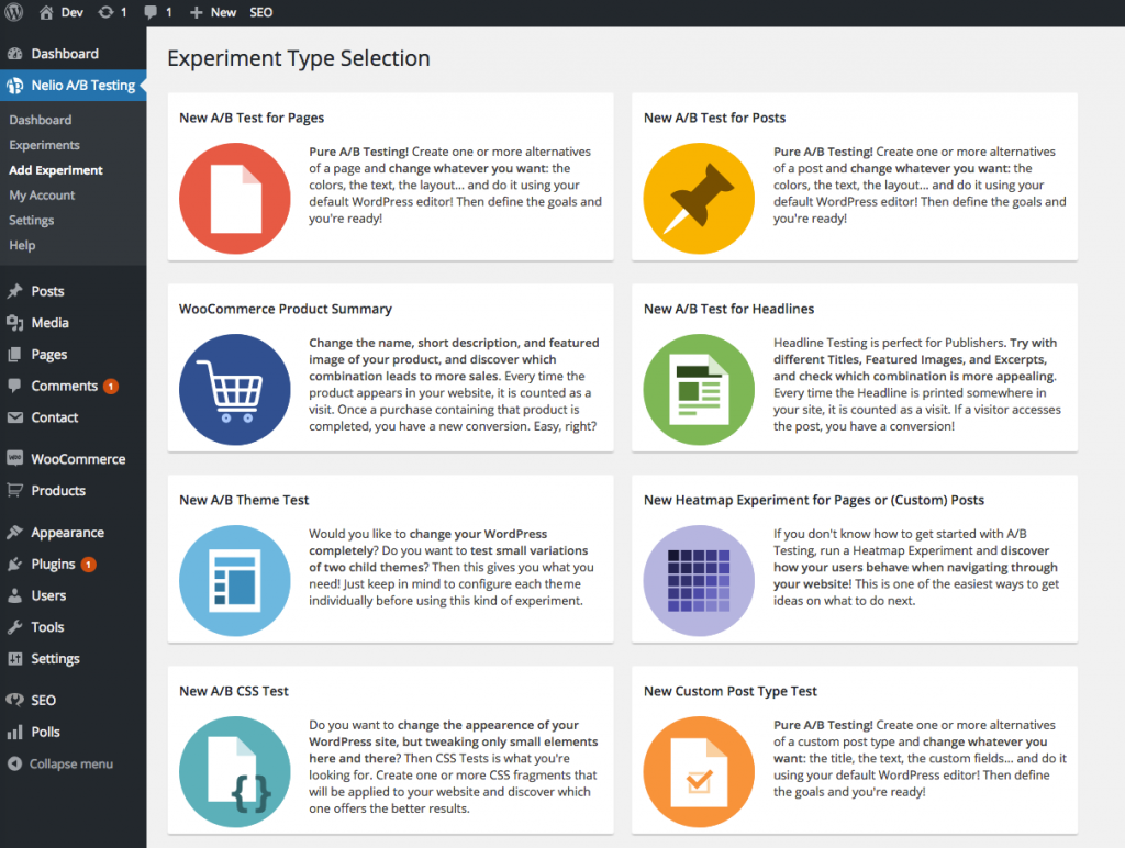 Experiment Selector in Nelio A/B Testing