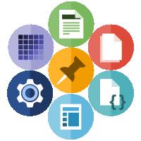 Ilustración con todos los iconos de los diferentes tipos de test disponibles en Nelio A/B Testing