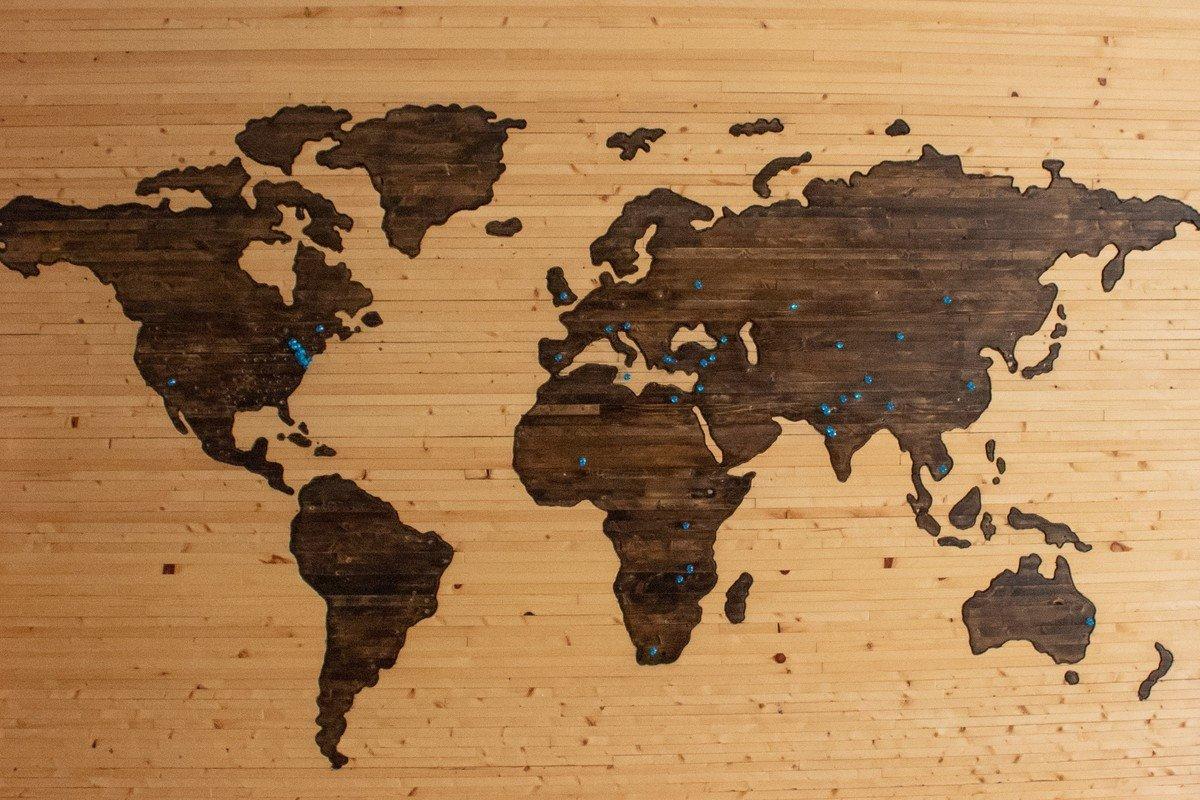 Wooden map, by Brett Zeck