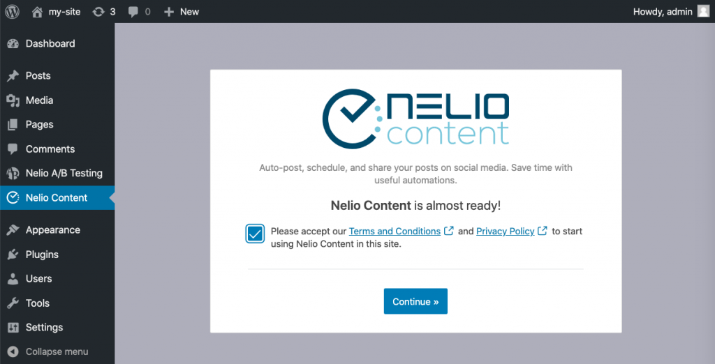 Screenshot of initial settings of Nelio Content.