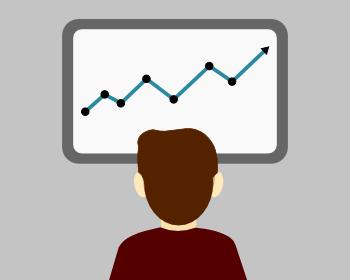Ilustración de una persona mirando cómo crecen las analíticas de una web