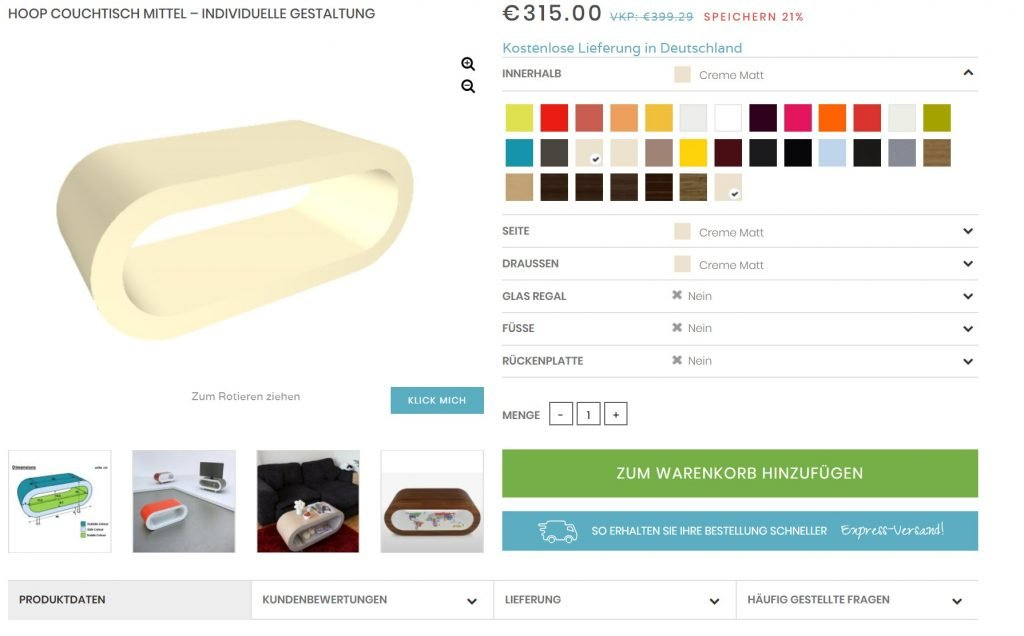 Screenshot of the Zespoke website in German.