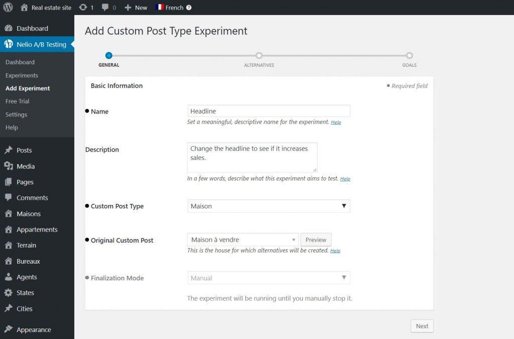 Custom post type experiment with Nelio A/B Testing