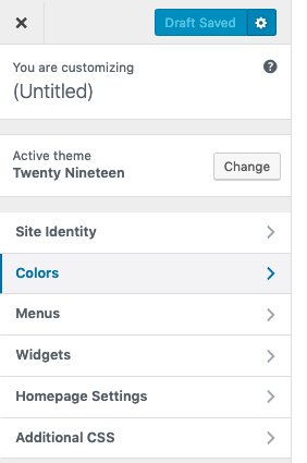 Option to change Colors of the theme Twenty Ninenteen.
