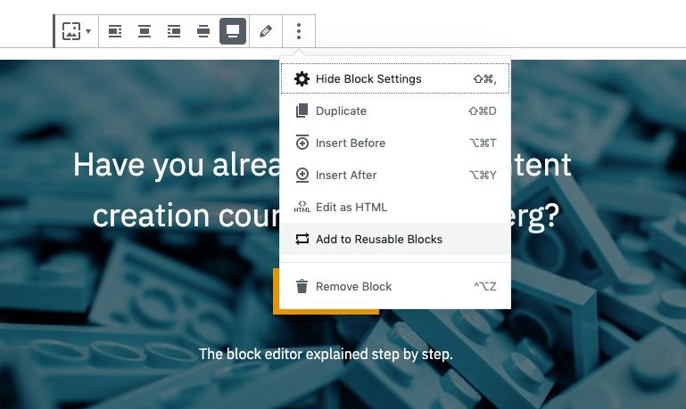 Adding a reusable block