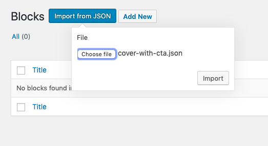 Import JSON file