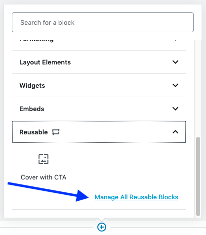 Manage all the reusable blocks
