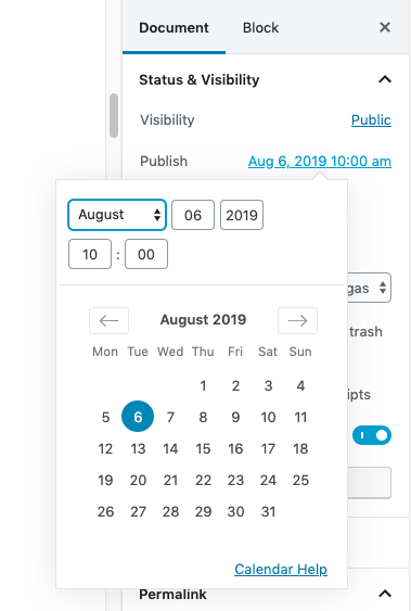 This is the user interface to schedule posts in WordPress. Select the date on the floating calendar and you're done.