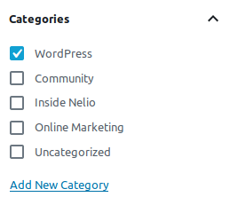 Category selector in Gutenberg