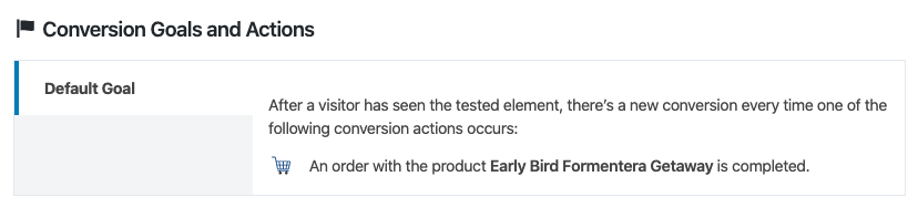 Conversion goal of a WooCommerce product summary test.