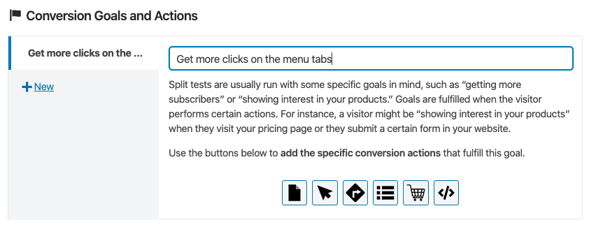 Defining conversion goals on a CSS test with Nelio A/B Testing
