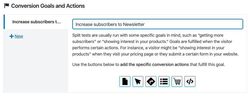 Defining a conversion goal of an A/B Test of a post.
