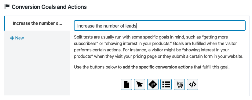 Defining conversion goals of a custom post type A/B test.