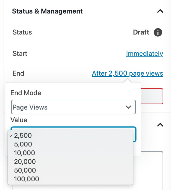 Automatic End Mode based on Page Views in Nelio A/B Testing