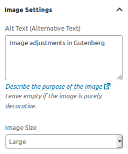 Image Settings in Gutenberg