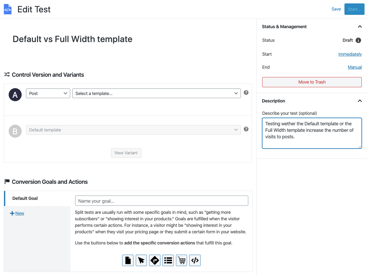 Naming A/B test of templates with Nelio A/B Testing.