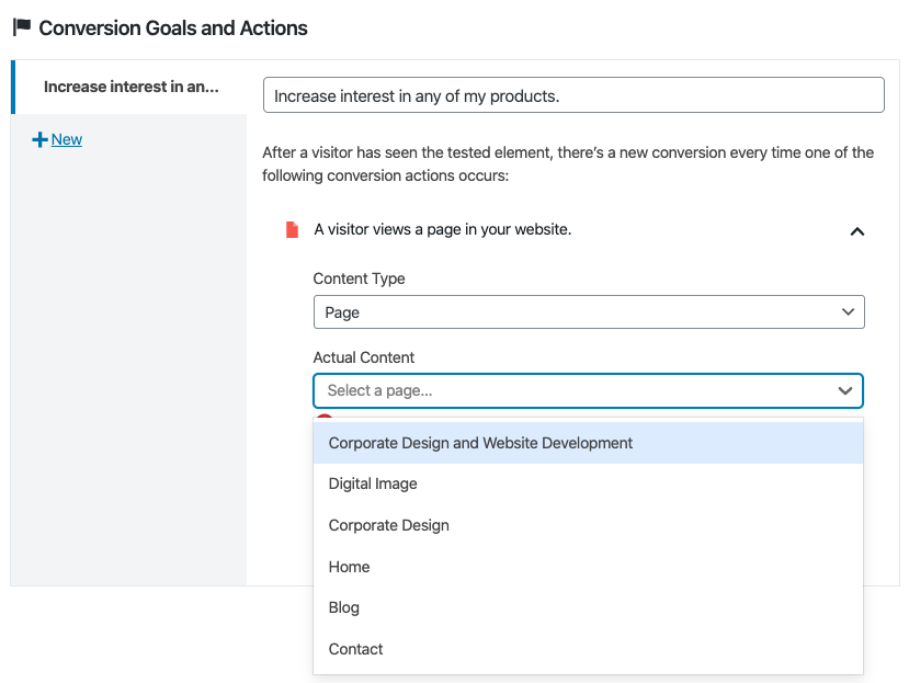 Conversion action page view