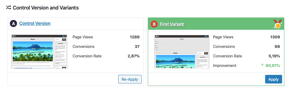 Results of an A/B test of widgets with Nelio A/B Testing.