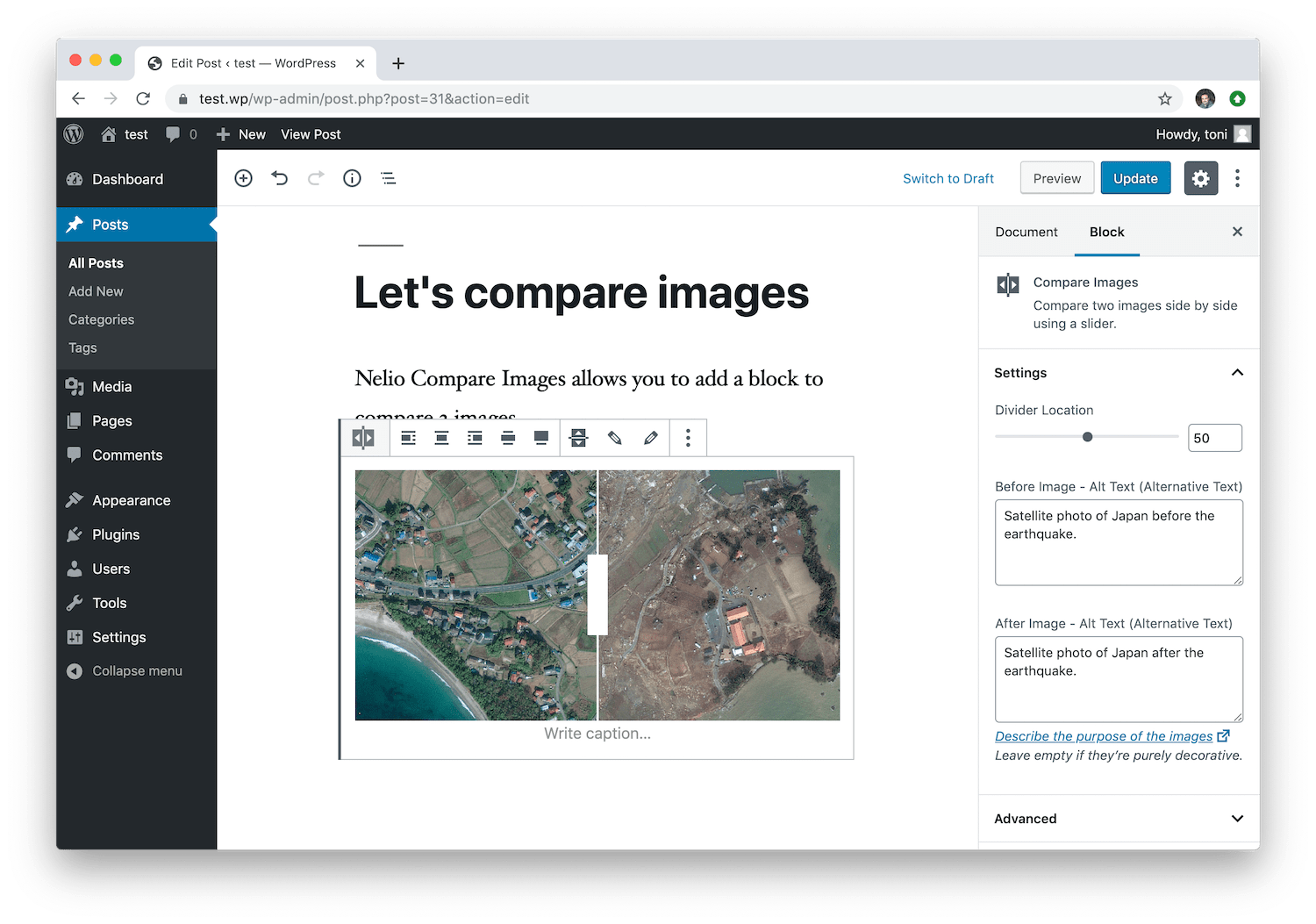 The Nelio Compare Images block allows you to indicate the alternative text of each of the two images to compare.