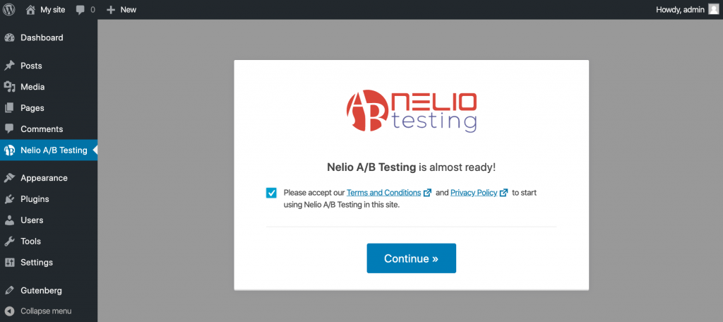 Nelio A/B Testing is almost ready message