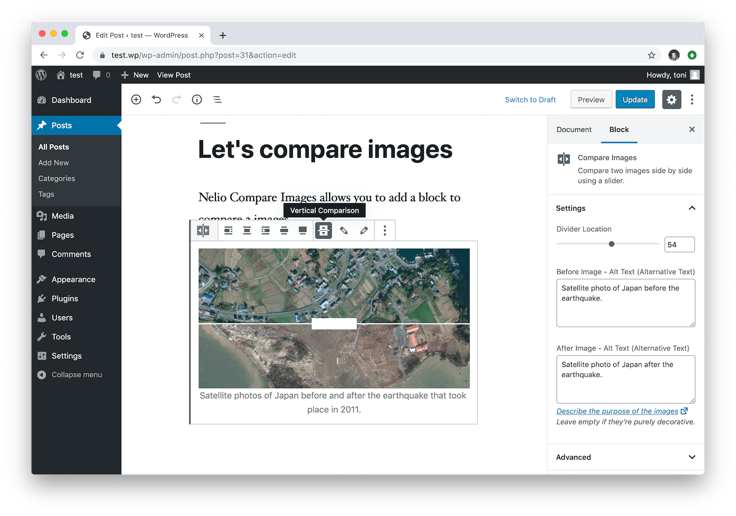 The Nelio Compare Images block allows you to compare two images both vertically and horizontally.