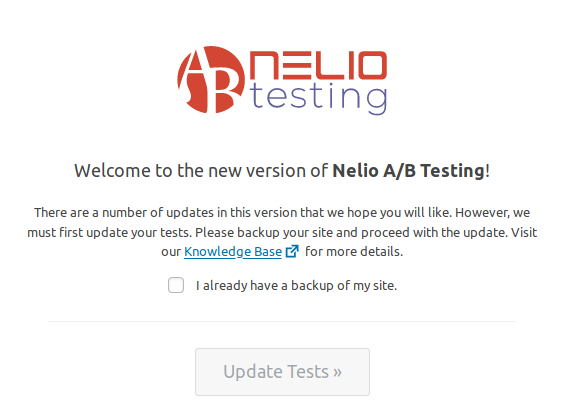 Welcome Screen in Nelio A/B Testing 5.0, warning of test migration