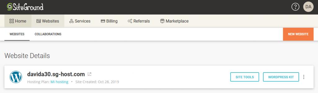 List of Websites in SiteGround