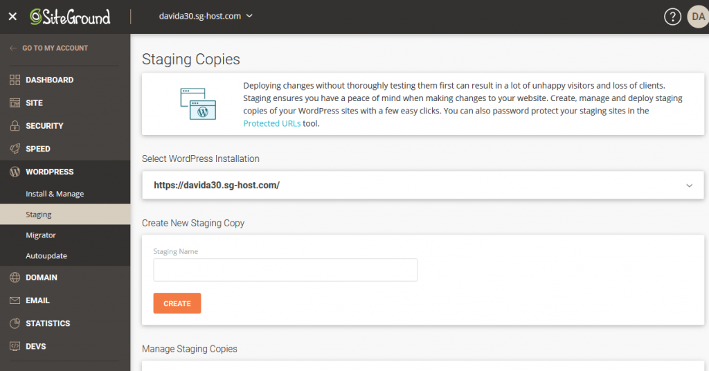 Staging copy management in SiteGround