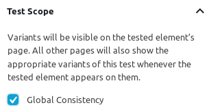 Global Consistency setting in a split test