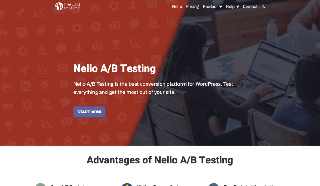 Original version of the first fold of the Nelio A/B Testing home page