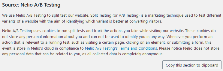 WordPress Privacy Policy with Nelio A/B Testing Details