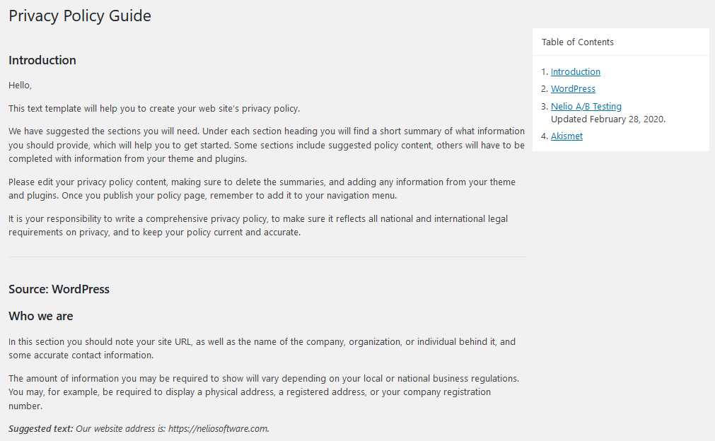 Privacy Policy Guide in WordPress