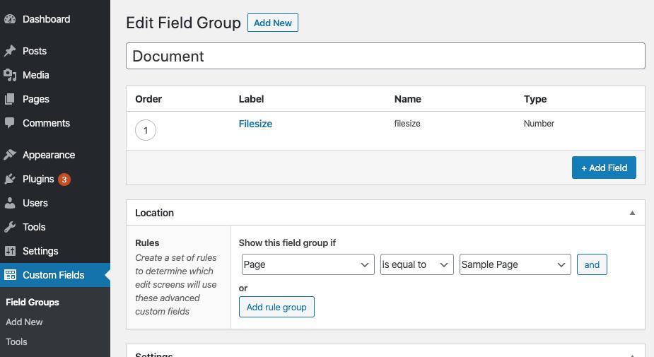 Captura de pantalla de la interfaz de usuario del plugin ACF y sus «campos personalizados»