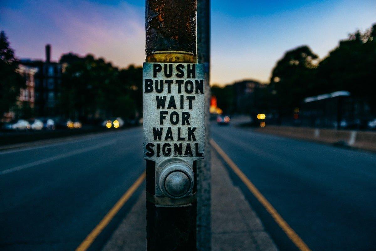 Traffic light button, by Ashim D'Silva