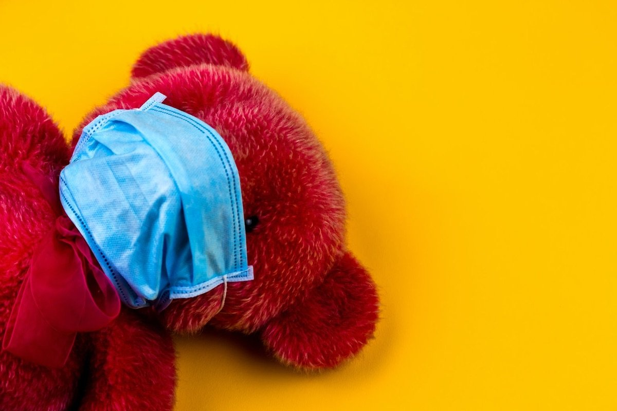 Picture of a Teddy Bear with Face Mask, by Hryshchenko