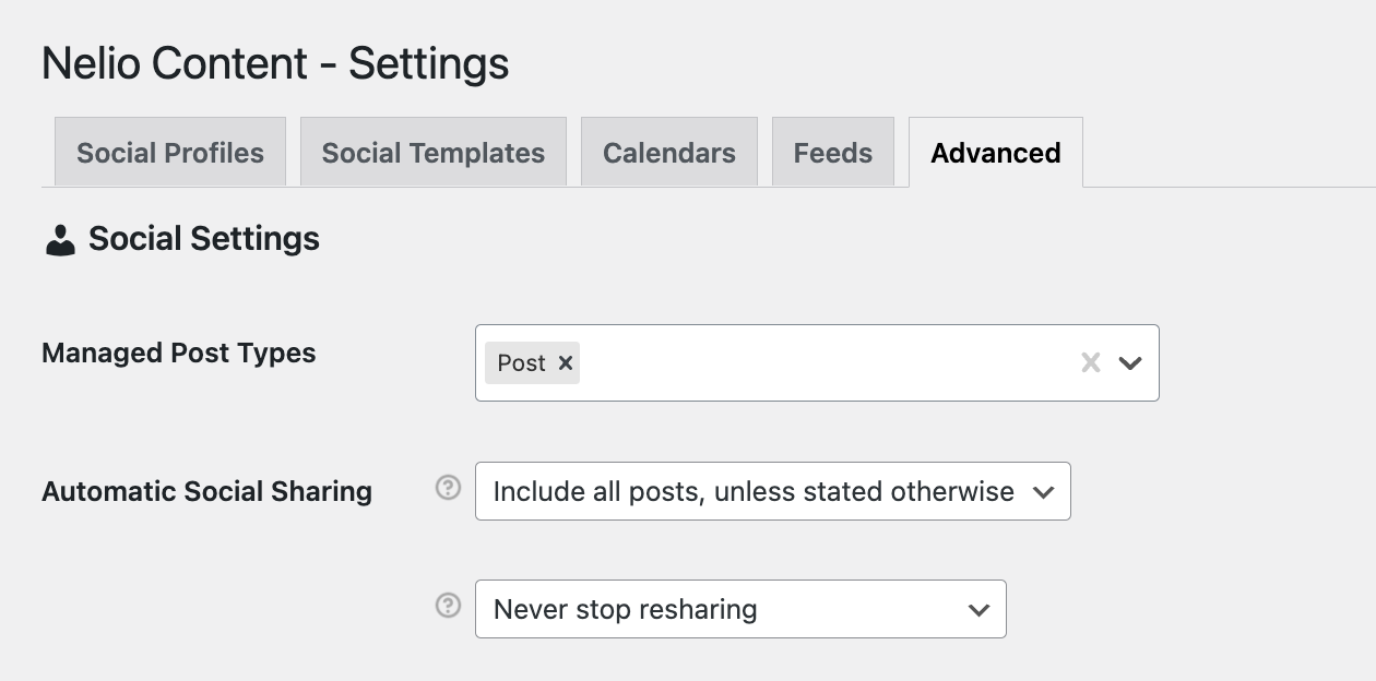Advanced settings about authomatic social sharing.